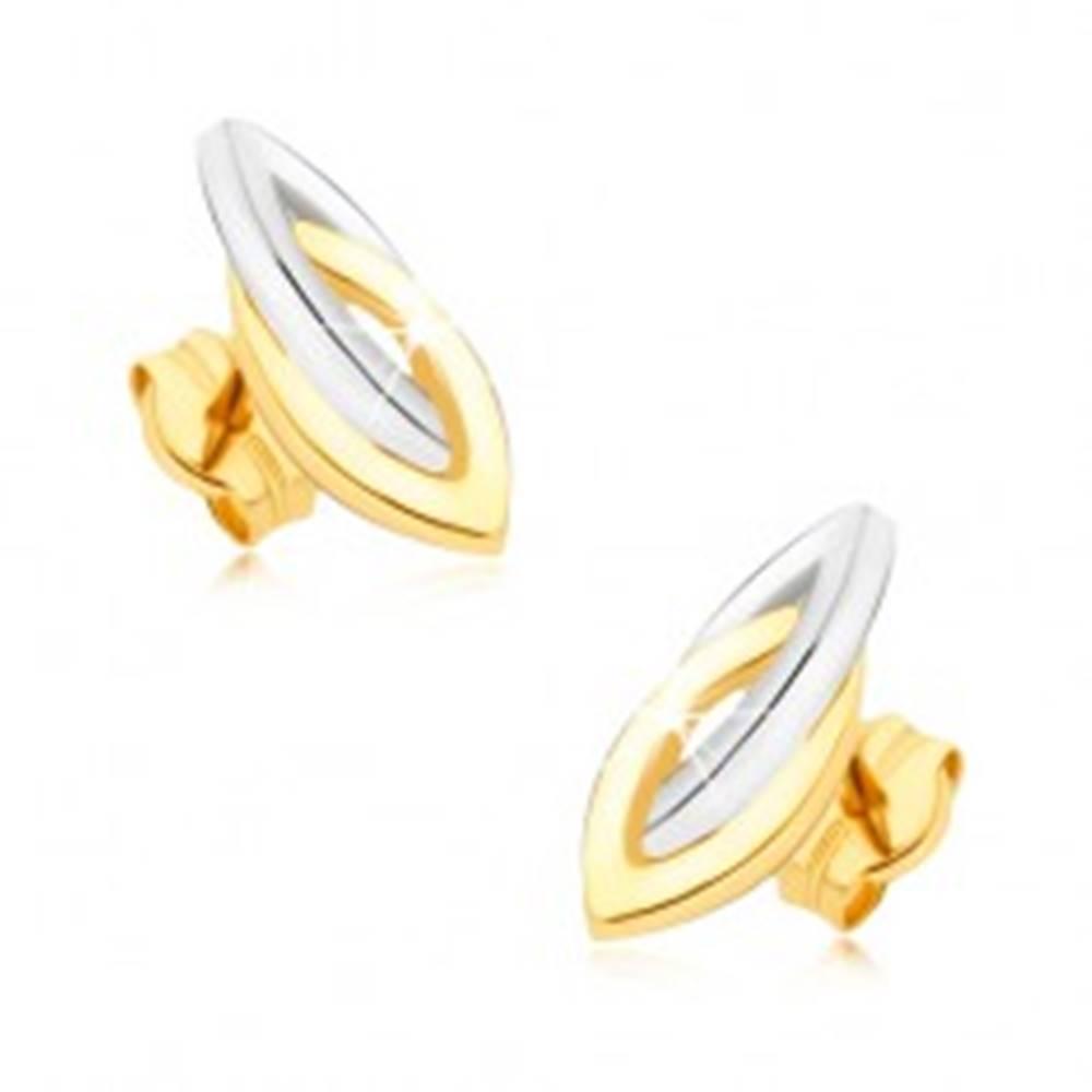 Šperky eshop Zlaté ródiované náušnice 375 - prepojené dvojfarebné elipsy