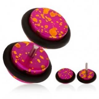 Akrylový fake plug do ucha, fuksiový podklad s oranžovými fľakmi, gumičky