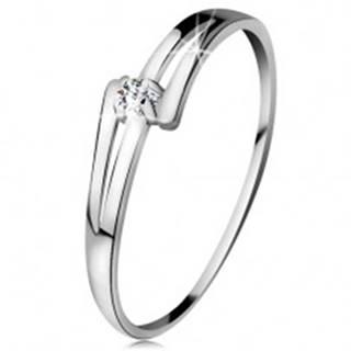 Briliantový prsteň v bielom 14K zlate - rozdelené lesklé ramená, číry diamant - Veľkosť: 49 mm