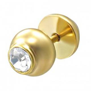 Falošný piercing zlatej farby s kameňom
