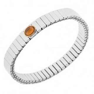 Lesklý oceľový náramok striebornej farby, strečový, oválny oranžový kamienok
