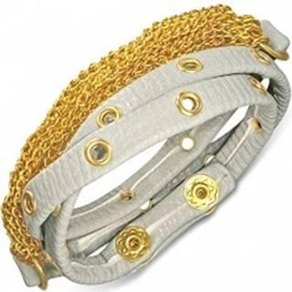 Náramok z kože - sivý pás s vybíjaním a retiazkami zlatej farby