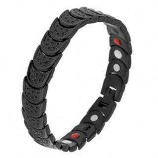Náramok z ocele čiernej farby, polkruhy s jamkami, farebné magnety