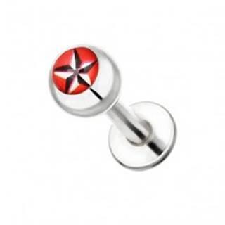 Oceľový piercing do brady - čierno-biela ružica na červenom pozadí - Dĺžka piercingu: 10 mm