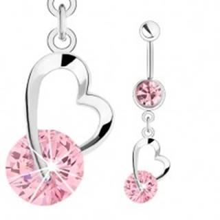 Oceľový piercing do pupka, strieborná farba, ružové zirkóny, kontúra srdiečka