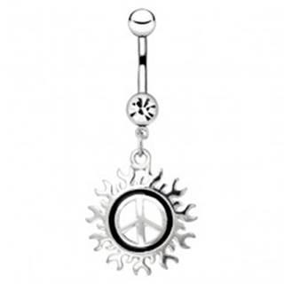Oceľový piercing do pupku - symbol mieru s motívom slnka