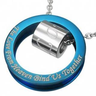 Oceľový prívesok modro-striebornej farby - výrok o láske
