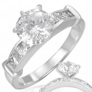Oceľový prsteň - číry vystúpený okrúhly zirkón v strede - Veľkosť: 49 mm