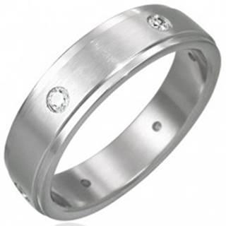 Oceľový prsteň matný - 6 zirkónov po obvode - Veľkosť: 48 mm