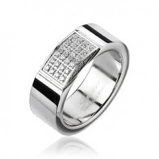 Oceľový prsteň - obdĺžnik vykladaný drobnými zirkónmi - Veľkosť: 59 mm