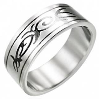 Oceľový prsteň s motívom TRIBAL - Veľkosť: 51 mm