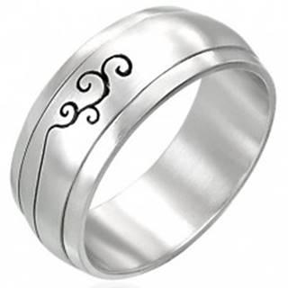Oceľový prsteň s ornamentom - otáčavý stred - Veľkosť: 52 mm