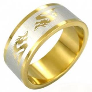 Oceľový prsteň v zlatej farbe čínsky drak - Veľkosť: 53 mm