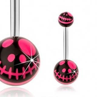 Piercing do pupku, oceľ 316L, čierna a neónovo ružová farba, kreslená lebka