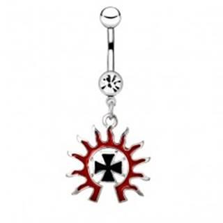 Piercing do pupku z ocele - čierny kríž v ohnivej žiare