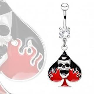 Piercing do pupku z ocele - lebka na symbole piky s plameňmi