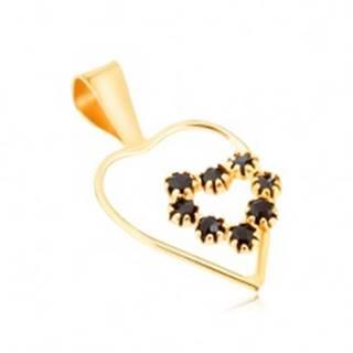 Prívesok v žltom 9K zlate, tenká línia kontúry srdca, čierne zafírové srdce