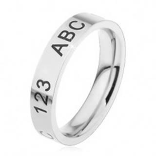 Prsteň z chirurgickej ocele v striebornom odtieni, gravírované číslice a písmená - Veľkosť: 44 mm