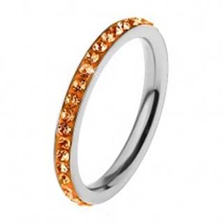 Prsteň z ocele 316L v striebornom odtieni, zirkóny oranžovej farby - Veľkosť: 49 mm