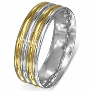 Prsteň z ocele - zaoblené pásy strieborno-zlatej farby - Veľkosť: 51 mm