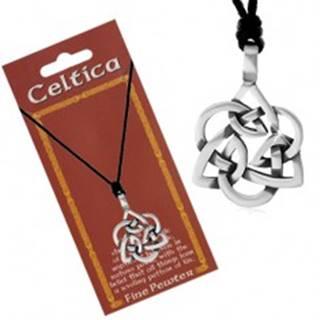 Šnúrkový náhrdelník, patinovaný prívesok striebornej farby - keltský uzol