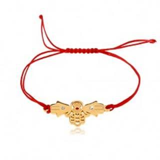 Šnúrkový náramok v červenom odtieni, tri spojené ruky Fatimy, číre zirkóny