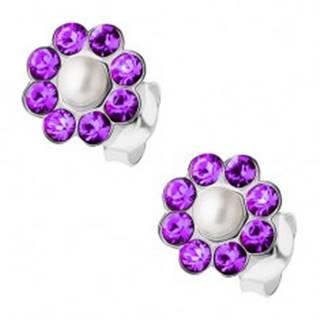 Strieborné náušnice 925, perlička, fialové krištáliky Preciosa - kvietok