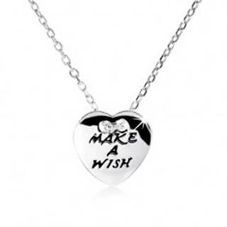"Strieborný náhrdelník 925, ploché srdce s nápisom ""MAKE A WISH"""