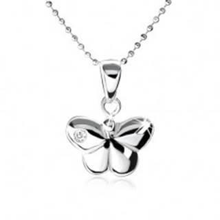 Strieborný náhrdelník 925, vypuklý motýlik s ozdobným zirkónom