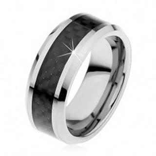 Tungstenová obrúčka striebornej farby, stredový pás z čiernych vlákien, 8 mm - Veľkosť: 49 mm