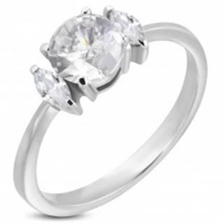 Zásnubný prsteň s okrúhlym zirkónom a dvoma oválnymi zirkónmi - Veľkosť: 49 mm