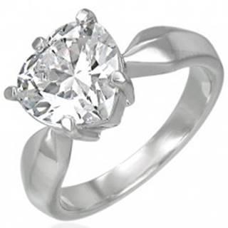 Zásnubný prsteň s veľkým čírym zirkónom v tvare srdca - Veľkosť: 49 mm
