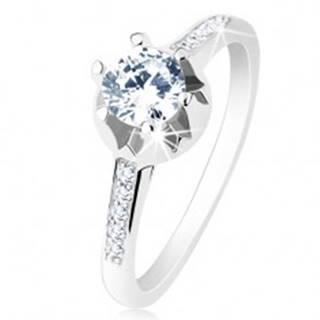 Zásnubný prsteň - striebro 925, úzke zdobené ramená, číry zirkón, zdobený kotlík - Veľkosť: 48 mm