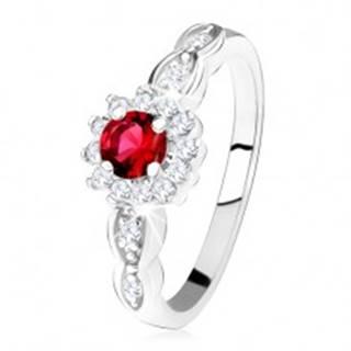 Zásnubný prsteň zo striebra 925, červený okrúhly zirkón s čírym lemom - Veľkosť: 49 mm