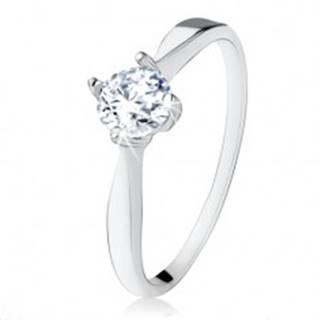 Zásnubný strieborný prsteň 925, brúsený číry zirkón, úzke ramená - Veľkosť: 48 mm