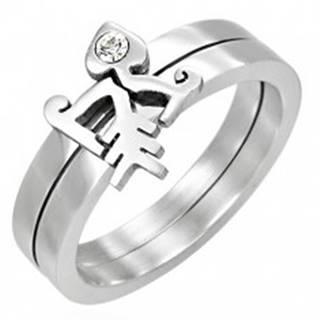 Zdvojený prsteň so zirkónom - Fishbone - Veľkosť: 43 mm