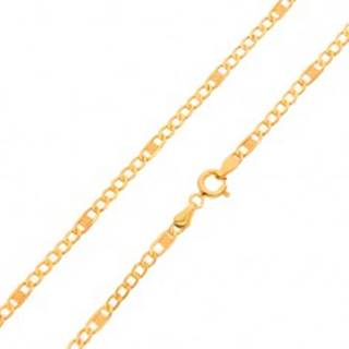 Zlatá retiazka 585 - menšie sploštené očká a jeden dlhší článok s mriežkou, 550 mm