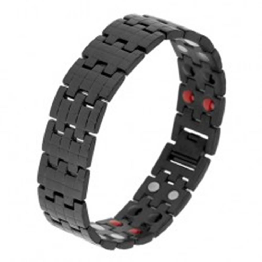 Šperky eshop Čierny náramok z ocele, štruktúrovaný povrch, magnety