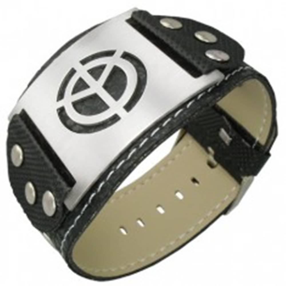 Šperky eshop Čierny PVC náramok symbol mieru