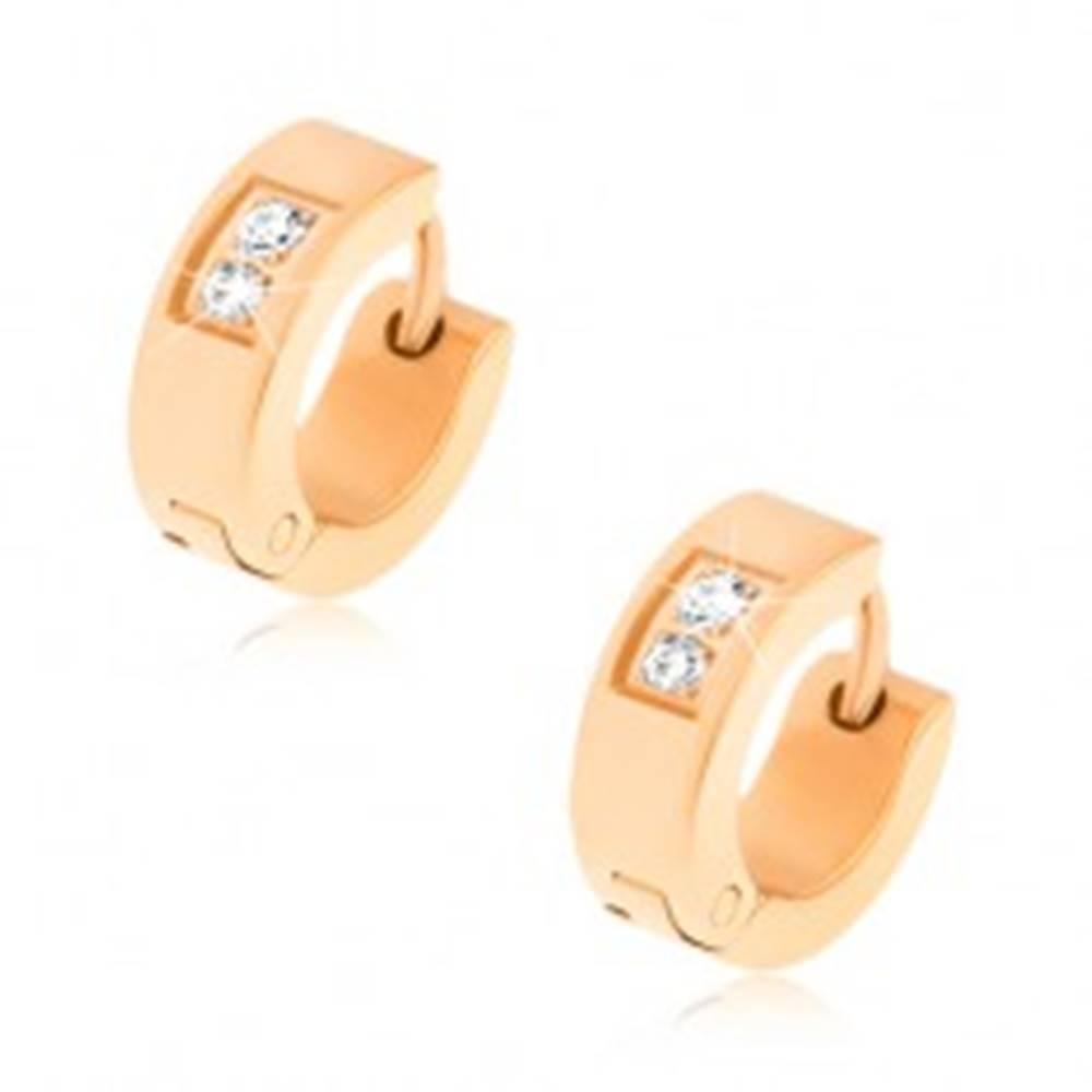 Šperky eshop Kĺbové oceľové náušnice zlatej farby, zrkadlový lesk, dva číre zirkóny