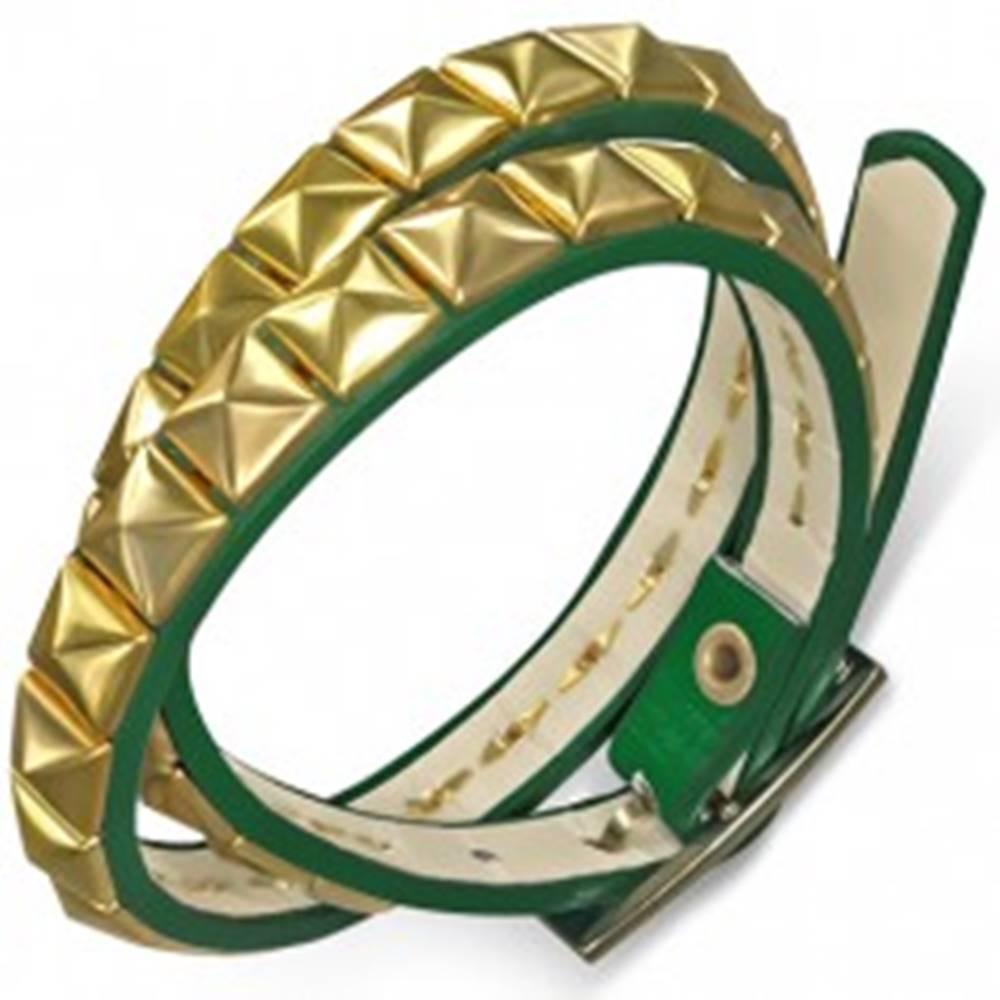 Šperky eshop Kožený náramok - zelený opasok, pyramídy zlatej farby