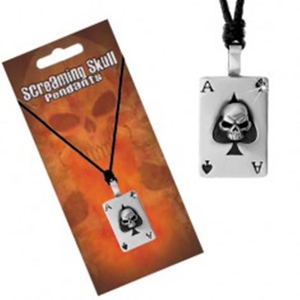 Šperky eshop Náhrdelník - nastaviteľná čierna šnúrka s príveskom, pikové eso s lebkou
