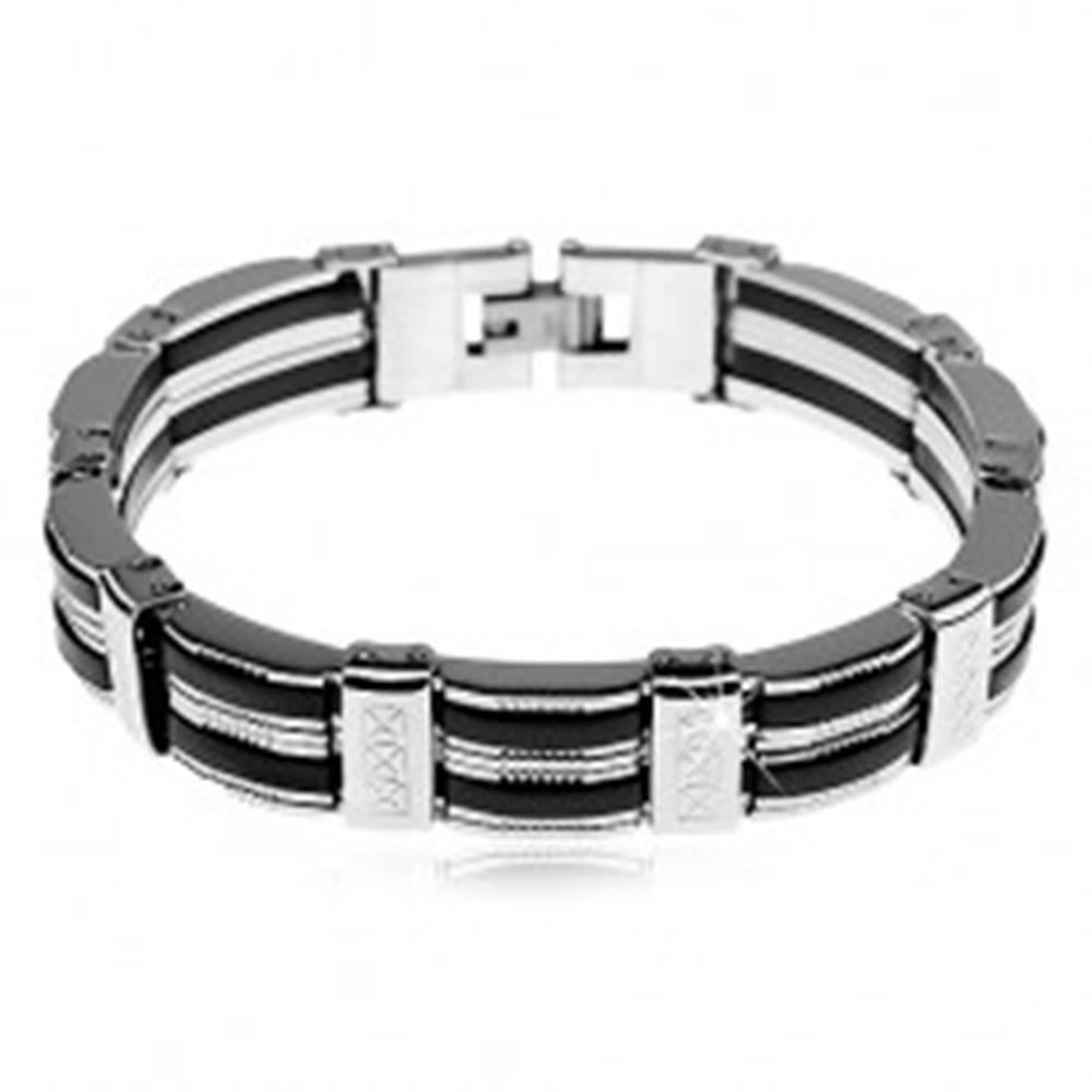 Šperky eshop Náramok z ocele, pásy striebornej farby, čierne gumené časti, vrúbky