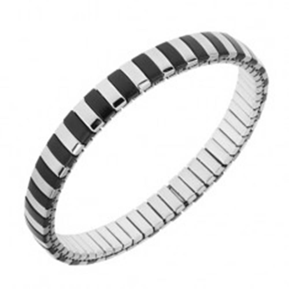 Šperky eshop Náramok z ocele, strieborná a čierna farba, úzke pásiky, rozťahovací remienok