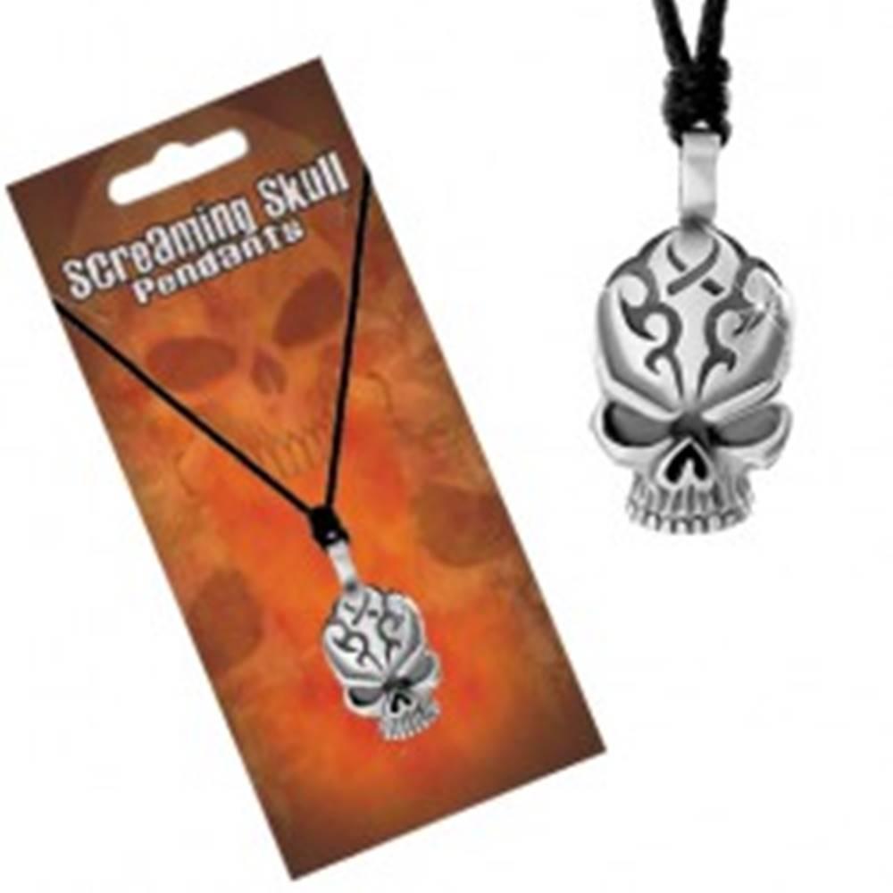 Šperky eshop Nastaviteľný náhrdelník, čierna šnúrka a prívesok lebky s ryhami na čele