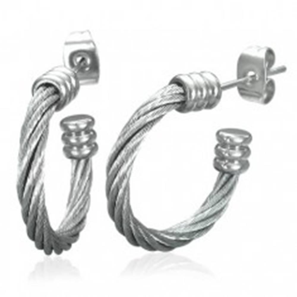 Šperky eshop Náušnice z ocele 316L, neúplný kruh - točený oceľový drôt striebornej farby