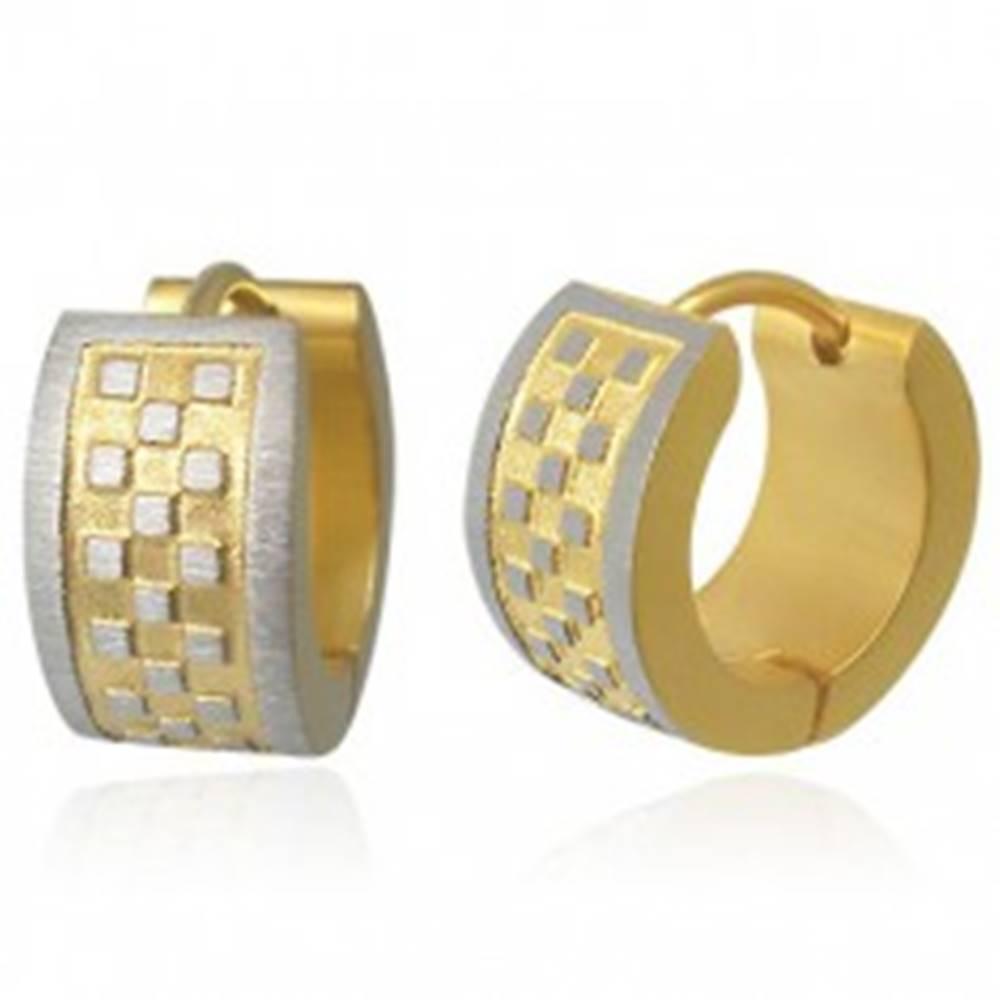 Šperky eshop Náušnice z ocele ryhované so šachovnicou