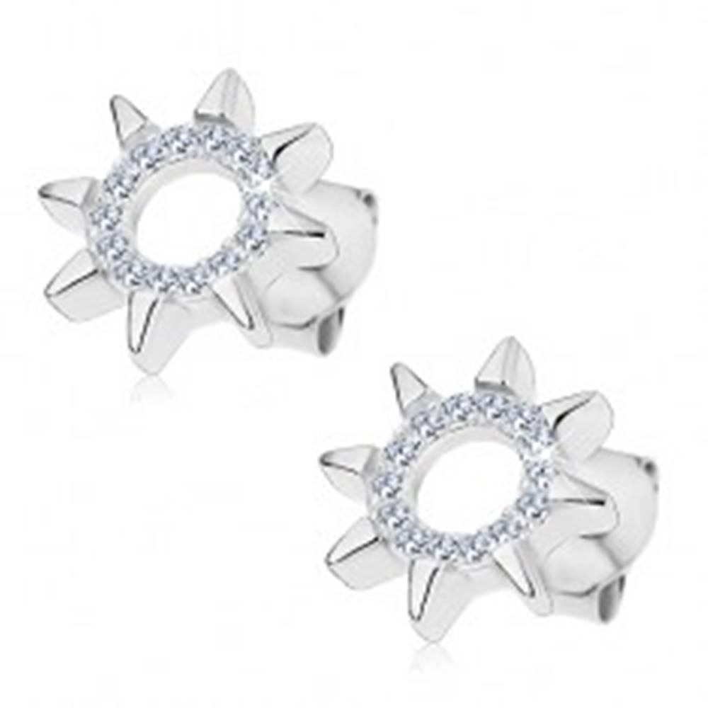 Šperky eshop Náušnice zo striebra 925, kontúra slnka z čírych zirkónov, lesklé lúče, puzetky
