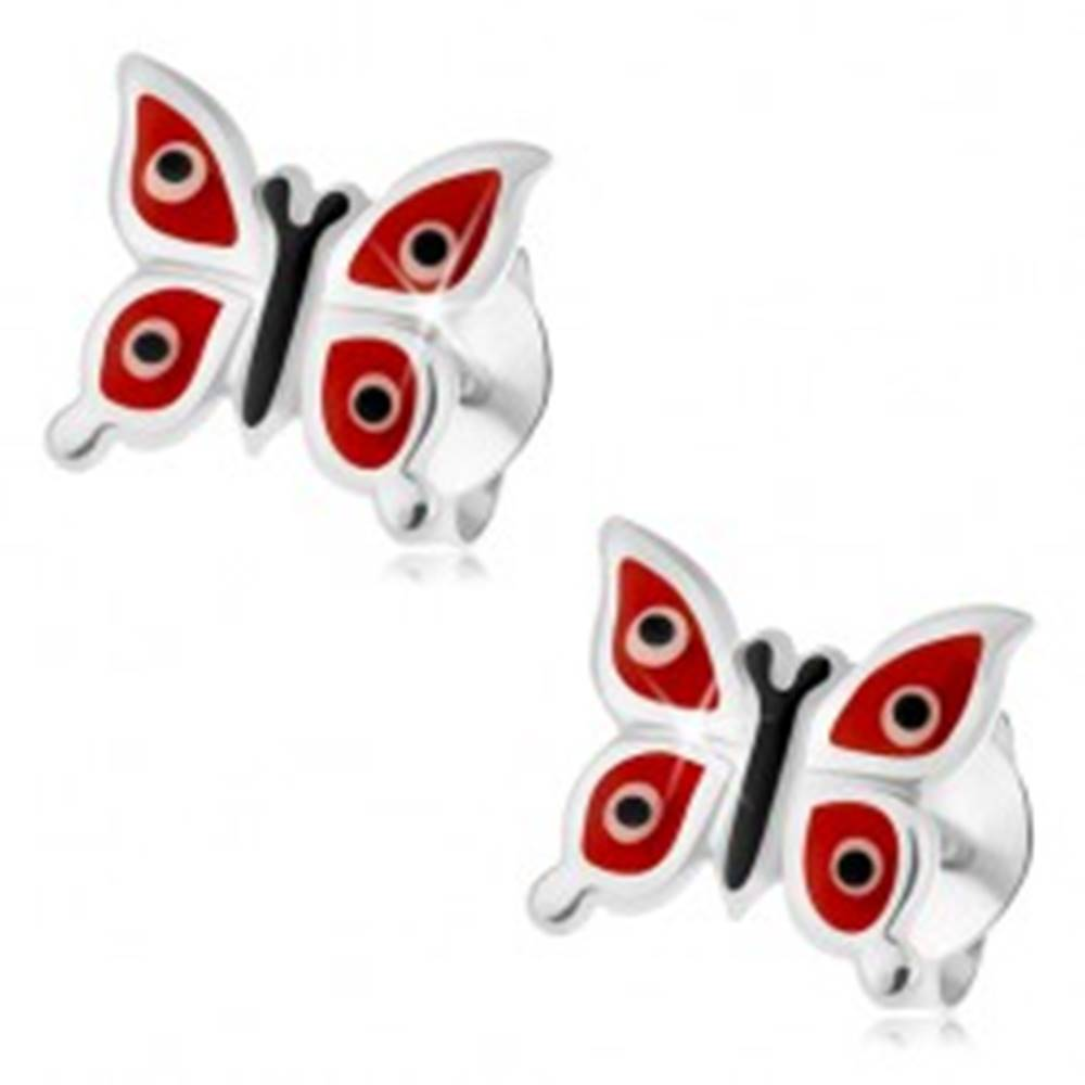 Šperky eshop Náušnice zo striebra 925, lesklé červené motýliky - biele a čierne bodky, puzetky
