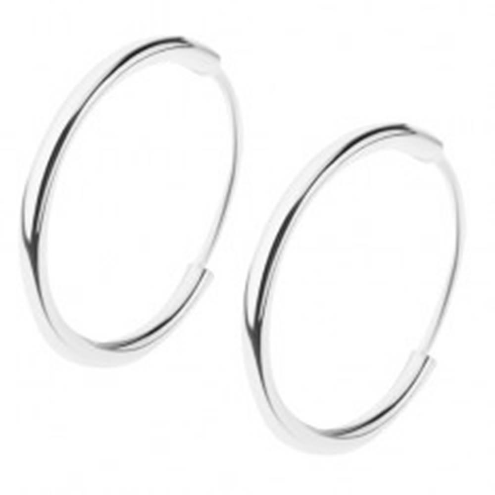 Šperky eshop Náušnice zo striebra 925, lesklý hladký krúžok, rozličné veľkosti - Priemer: 10 mm